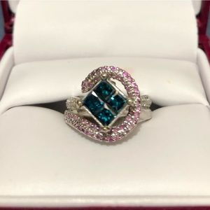 Jewelry - HUGE PRICE DROP 💕 Blue diamond and pink sapphire